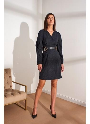 Setre  Kemerli V Yaka Uzun Kol Elbise Antrasit